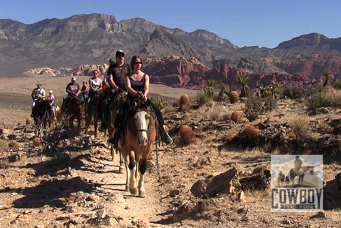 Picture of riders on the Cactus Garden Trail at Cowboy Trail Rides taken while Horseback Riding in Las Vegas